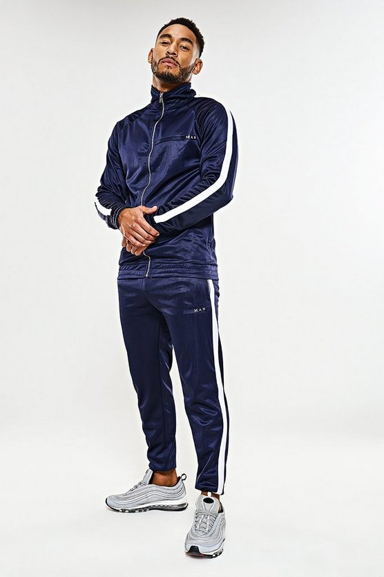 Navy MAN Sport Tricot Tracksuit With Piping