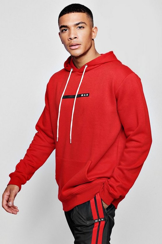 Red MAN Sport Hoodie With Back Print