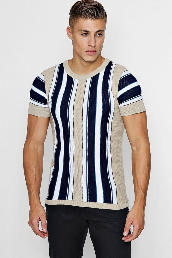 Taupe Vertical Stripe Knitted Muscle Fit T-Shirt