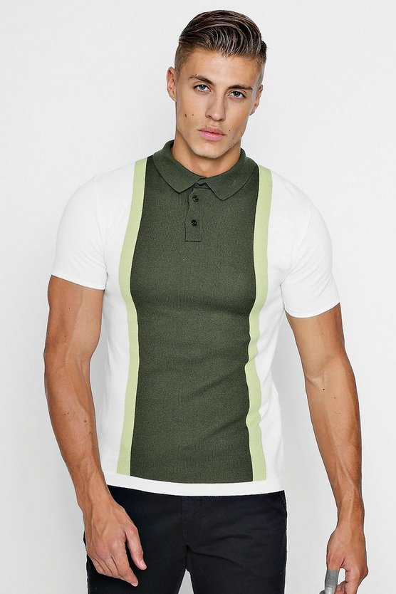 Olive Colour Block Short Sleeve Knitted Polo