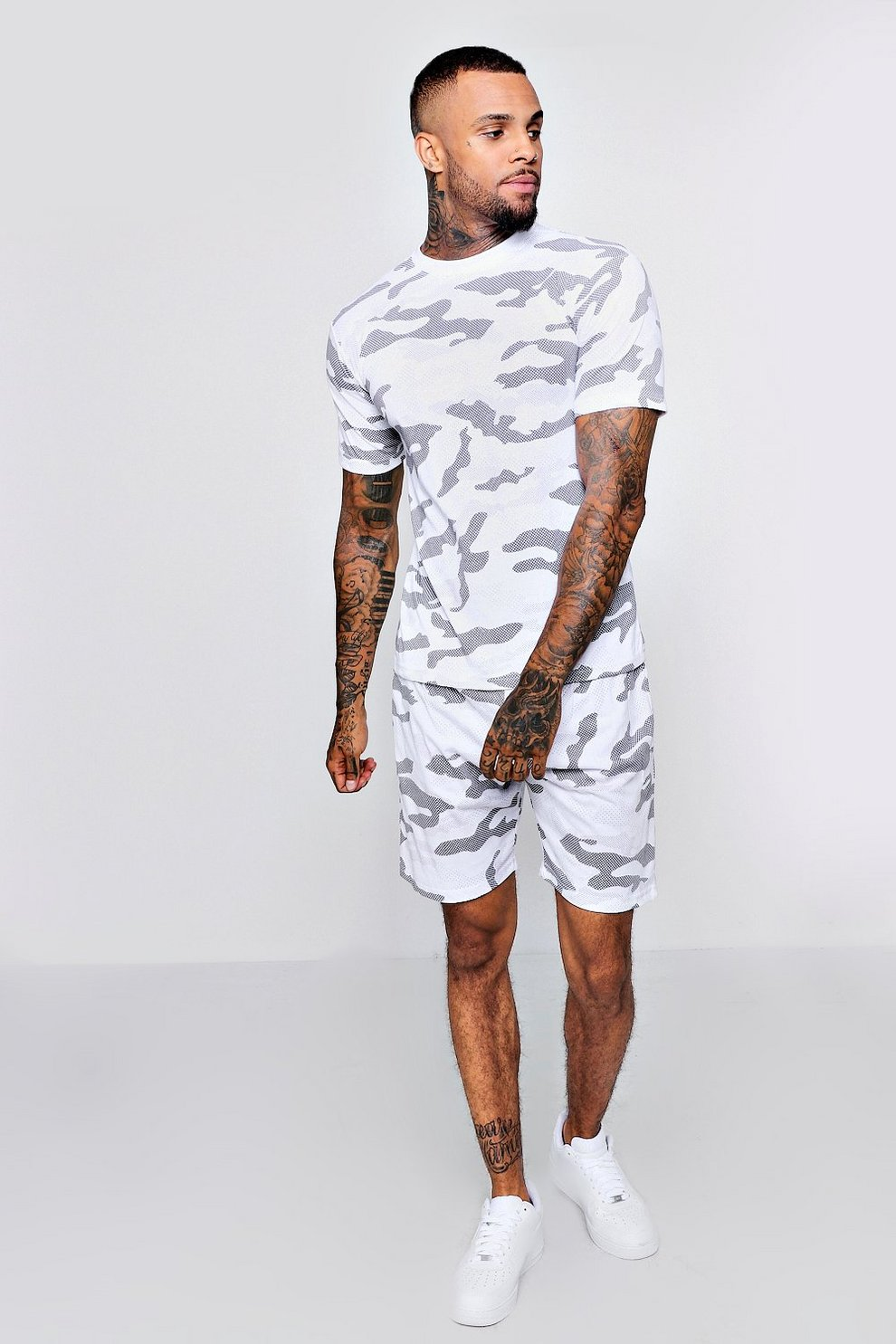 39a2426e Mens White Camo T-Shirt And Short Set. Hover to zoom