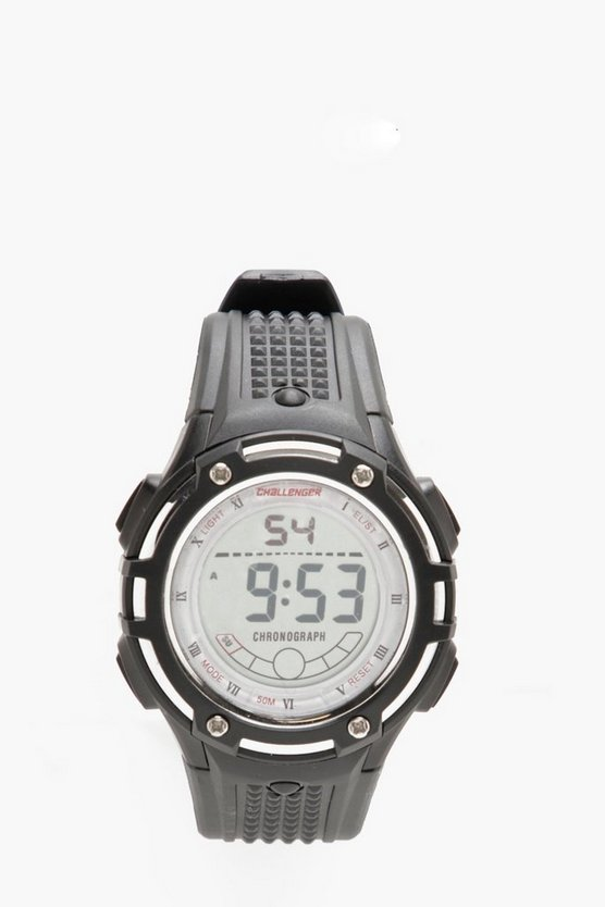 Black Challenger 50M Water Resistant Chunky Watch