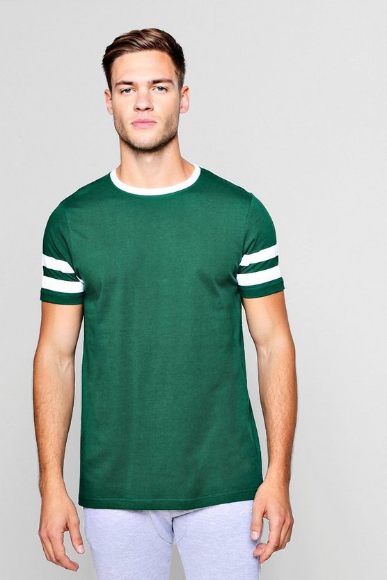 Green Contrast Panel Short Sleeve T-Shirt
