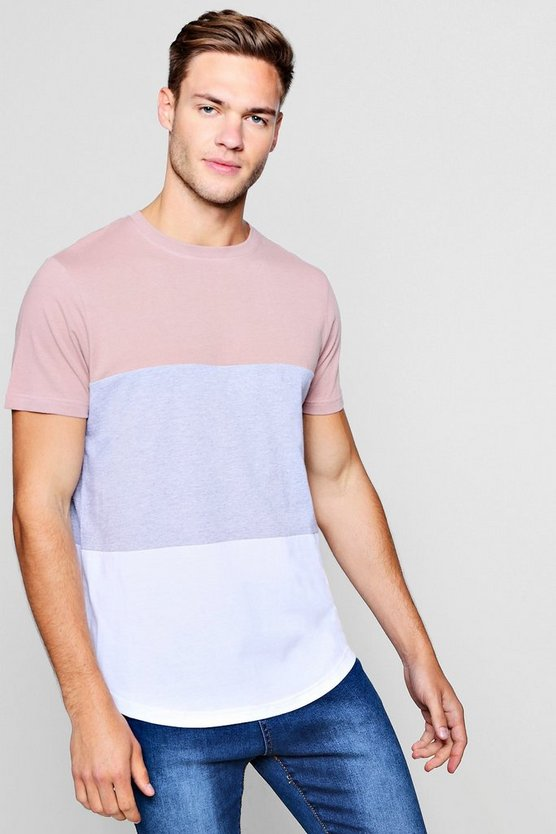 Bark Colour Block T-Shirt With Curve Hem