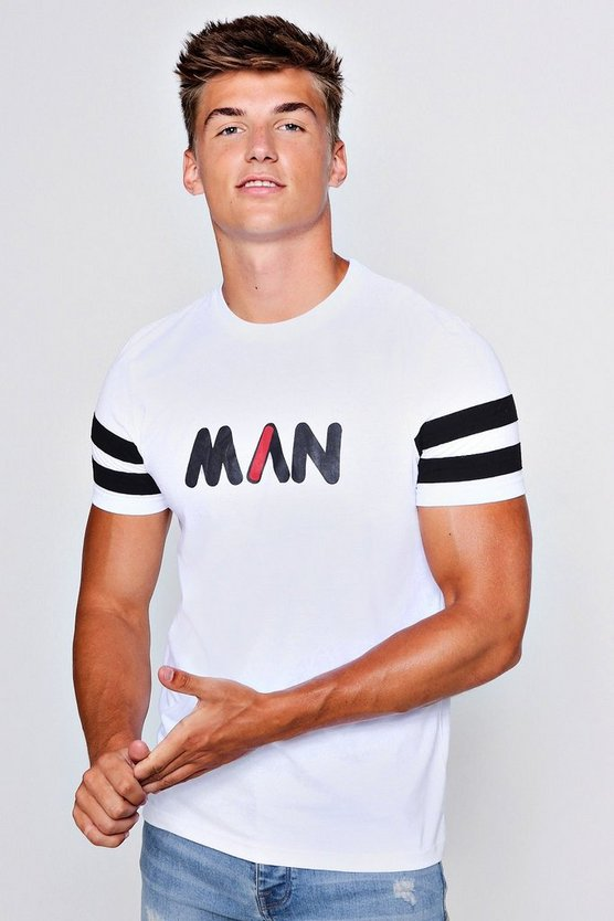 White MAN Printed T-Shirt With Contrast Panel Sleeves