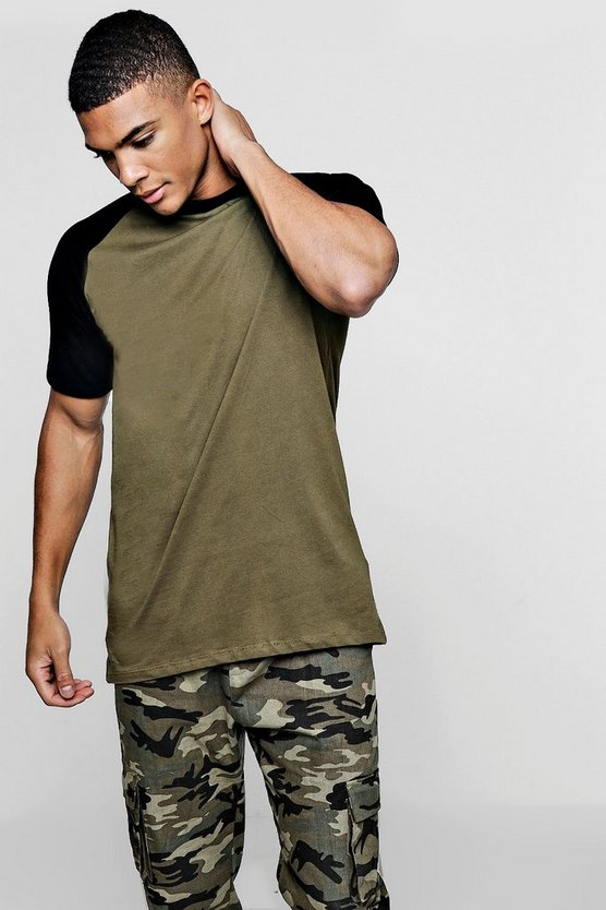 Khaki Longline T-Shirt With Velour Sleeves