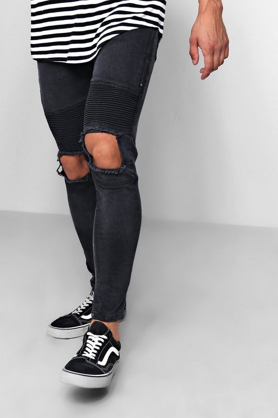 Washed black Skinny Fit Biker Jeans With Ripped Knee