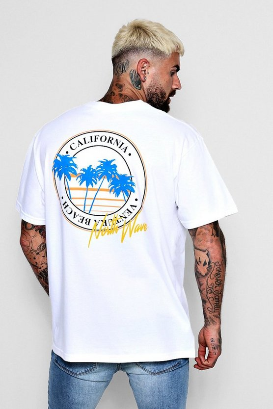 White West Coast North Wave Oversized T-Shirt