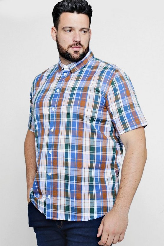 Mens Brown Big And Tall Short Sleeve Check Shirt