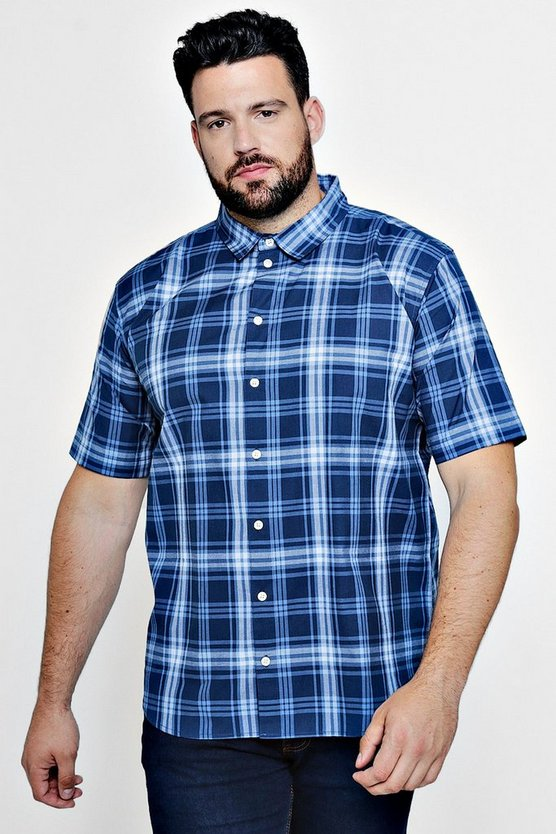 Mens Navy Big And Tall Short Sleeve Check Shirt