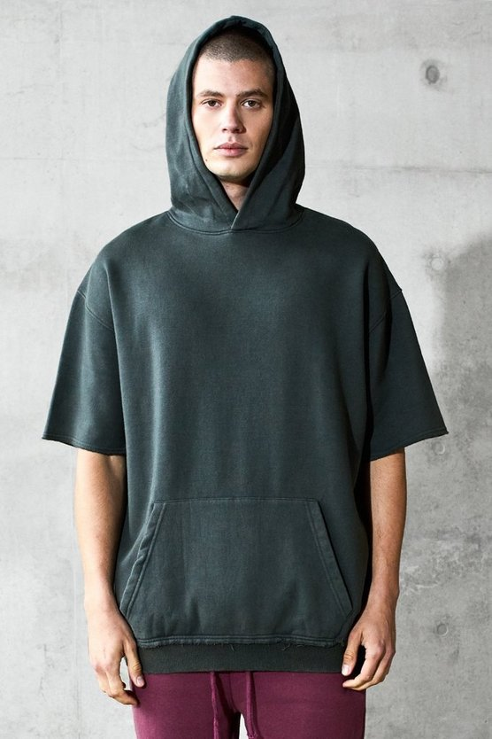 Brown Oversized Short Sleeve Heavyweight Hoodie