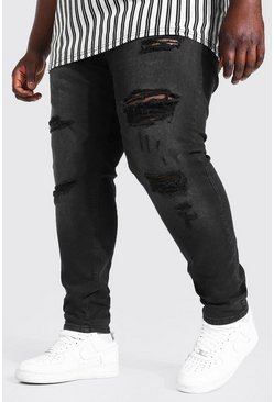 Washed black Plus Skinny Stretch Multi Rip Jean
