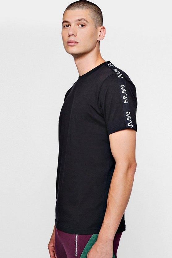 Mens Black Longline Curved Hem T-Shirt With Man Tape