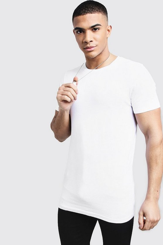 Mens White Longline Muscle Fit T-Shirt