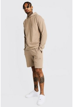 Mens Taupe Pique OTH Hoodie & Short Tracksuit