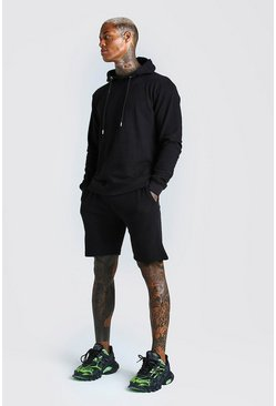 Black Pique Over The Head Hoodie And Short Tracksuit
