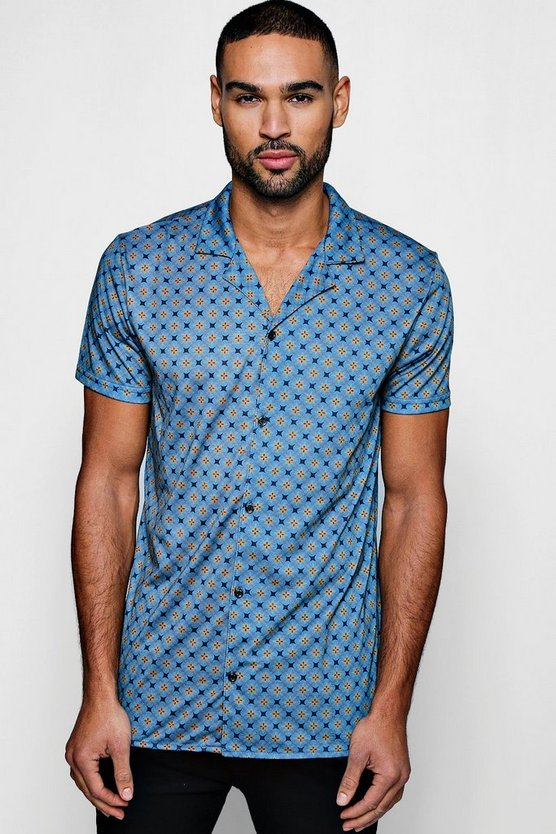 Blue Geo Star Print Short Sleeve Jersey Shirt
