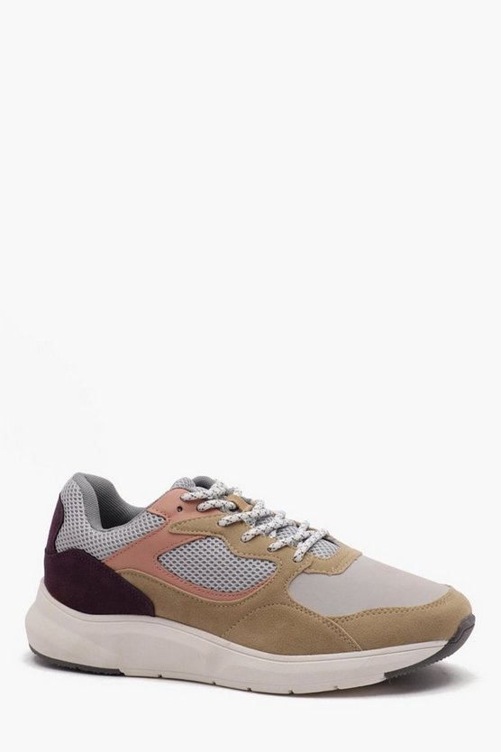 Stone Chunky Sole Panelled Trainer
