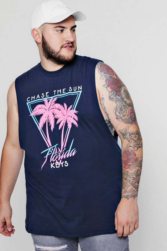 Navy Big & Tall Chase The Sun Palm Print Tank