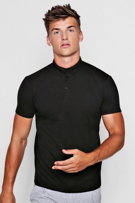 Black Textured Jersey Polo
