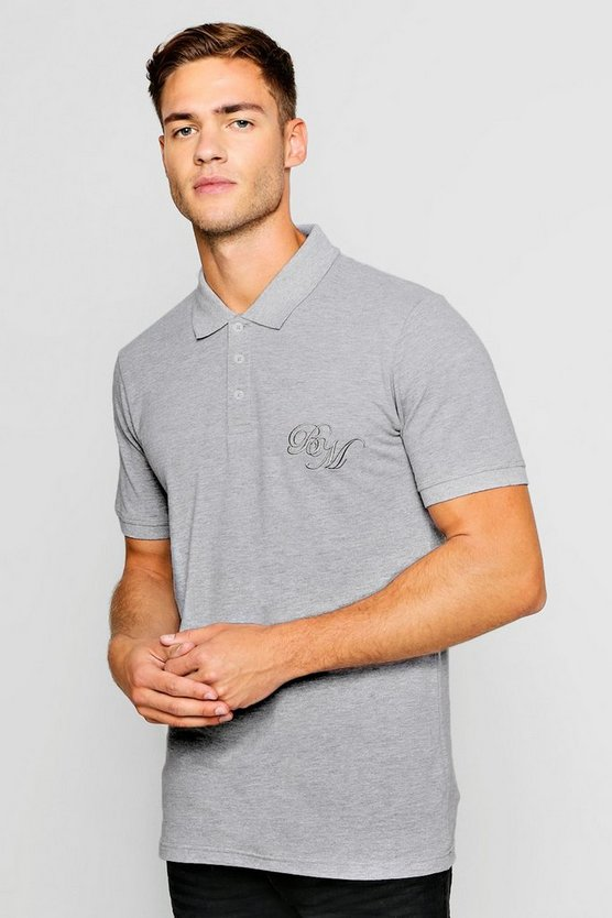 Grey Short Sleeved BM Logo Pique Polo