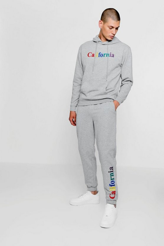 Grey California Embroidered Over The Head Tracksuit