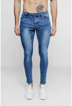 Mens Super Skinny Mid Blue Denim Jeans