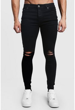 Mens Black Spray On Skinny Jeans With Ripped Knees