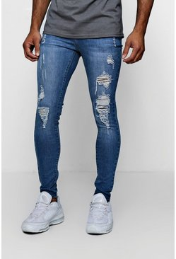 Spray On Skinny Jeans in Used-Optik, Blau, Herren