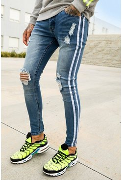 Blue Super Skinny Distressed Jeans With Side Tape