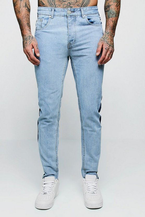 Mens Pale blue Skinny Fit Jeans With Washed Side Seam