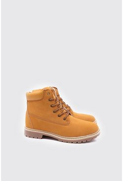 Mens Tan Faux Leather Worker Boot