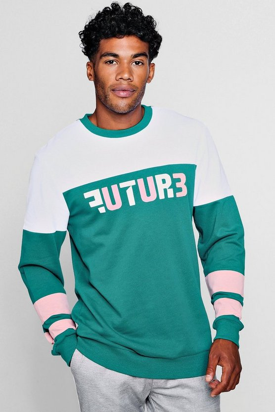 Green Future Applique Colour Block Sweater