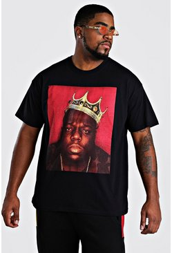 Mens Black Big and Tall Biggie Crown Licence T-Shirt