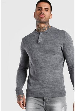 Grey Regular Long Sleeve Knitted Polo