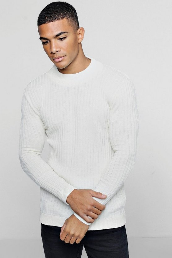 Mens Ecru Muscle Fit Ribbed Turtle Neck Jumper