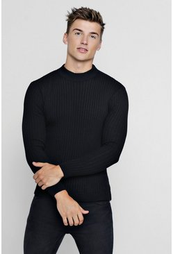 Black Muscle Fit Ribbed Turtle Neck Sweater