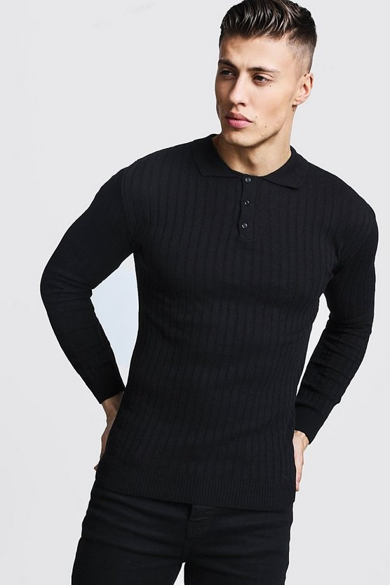 Black Muscle Fit Ribbed Long Sleeve Polo