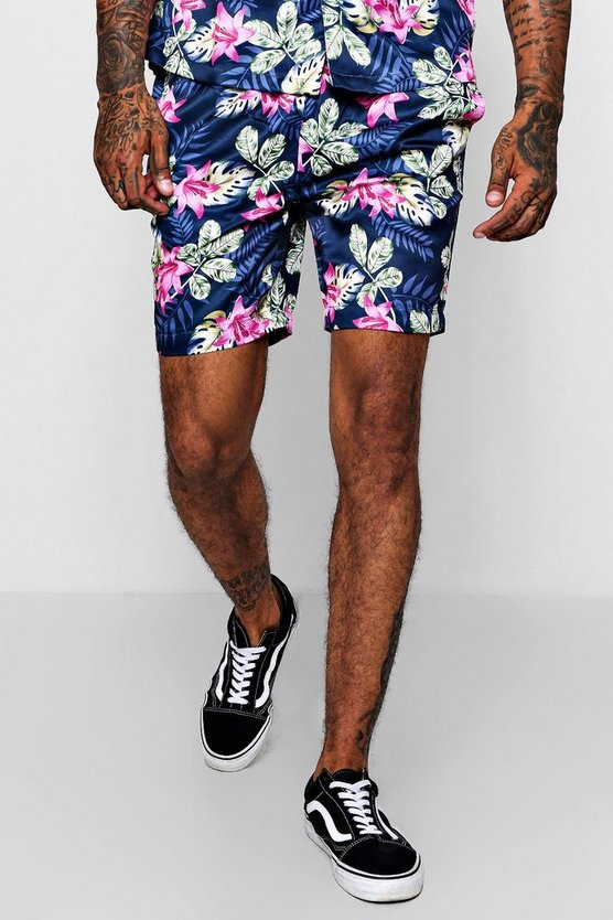 Mens Navy Floral Print Drawstring Satin Short