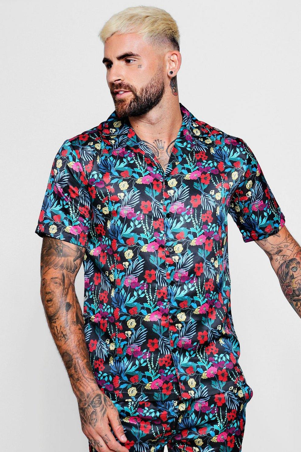 ee8874c1 Floral Print Short Sleeve Revere Satin Shirt - boohooMAN