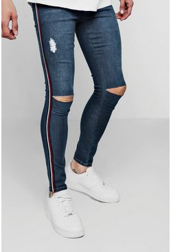 Mens Dark blue Spray On Skinny Fit Ripped Knee Jeans