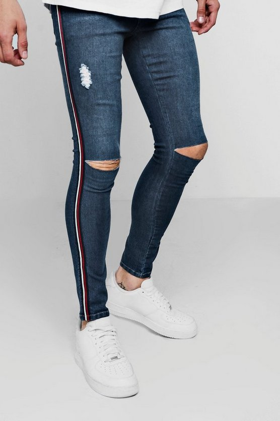 Spray on Skinny-Fit Jeans mit zerrissenen Knien, Dunkelblau, Herren