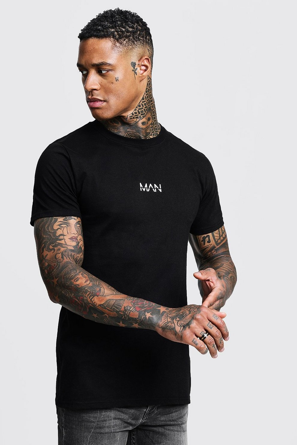 cc6cdf35463f6 Original MAN Logo Print T-Shirt - boohooMAN