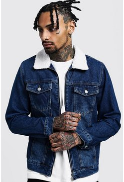 Mens Indigo Zip Through Borg Collar Denim Jacket