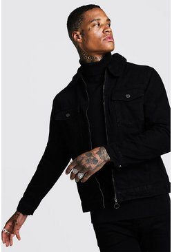 Mens Black Zip Through Borg Collar Denim Jacket