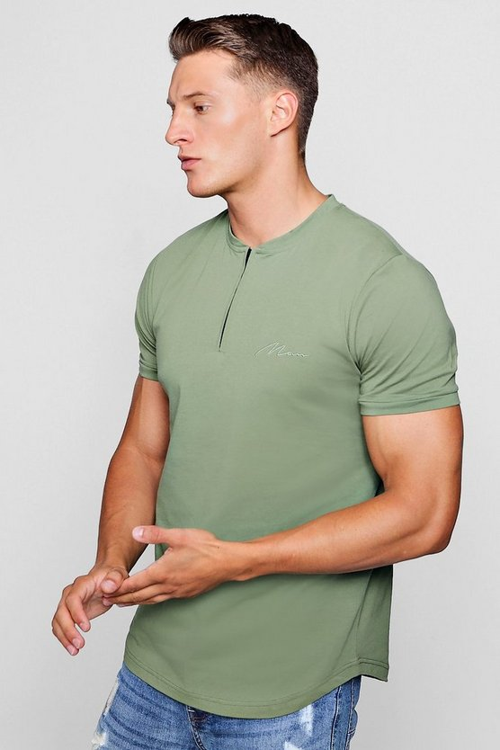 Khaki MAN Signature Zip Placket Polo