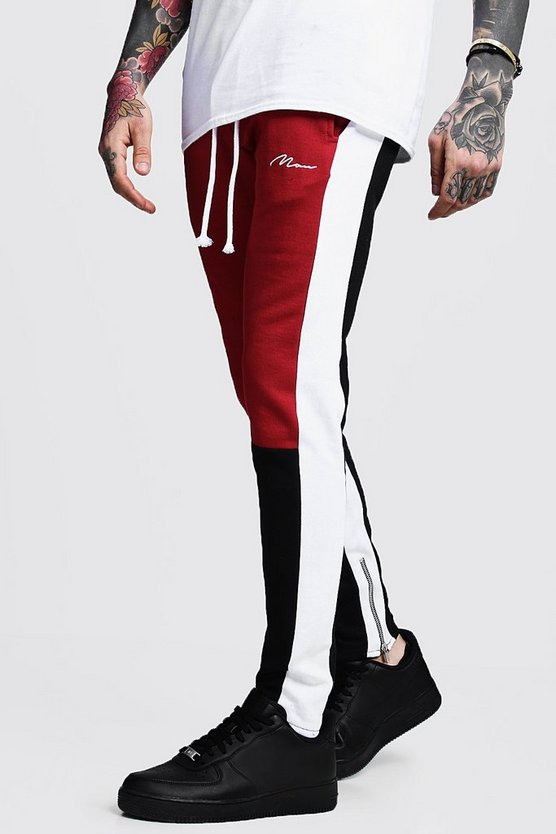 Mens Red Skinny Fit MAN Colour Block Joggers