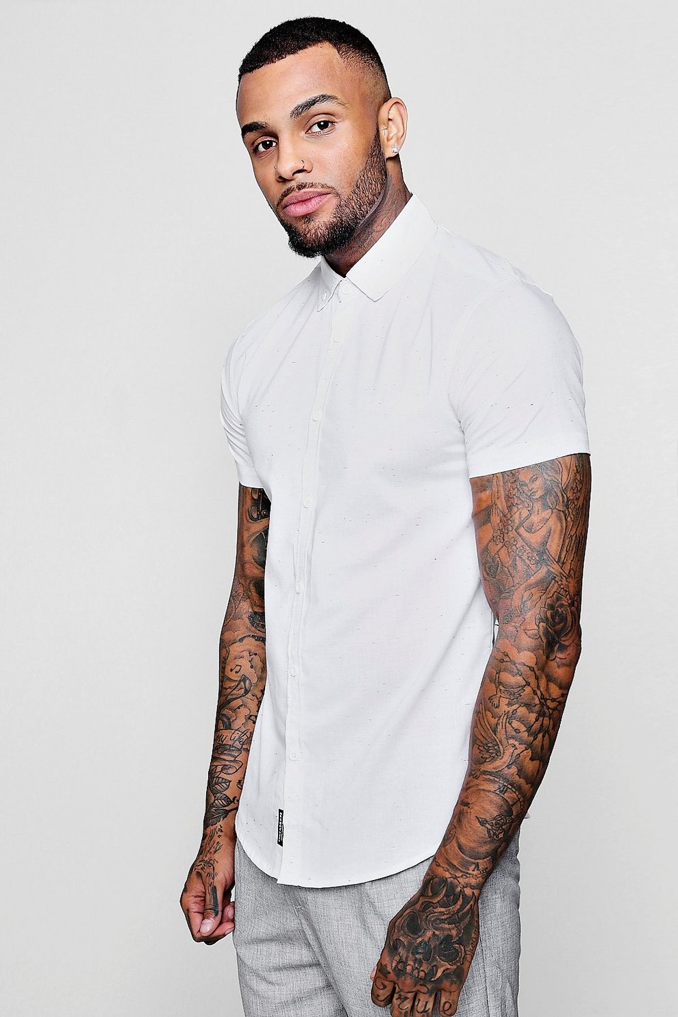 d8e7621cd Mens White Short Sleeve Slub Shirt In Muscle Fit. Hover to zoom. Close video