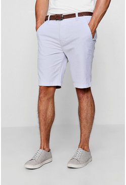 Mens Pale grey Cotton Oxford Short With Woven Belt