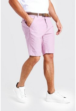 Mens Pink Cotton Oxford Short With Woven Belt